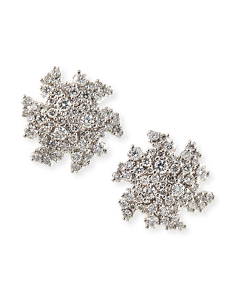 18k White Gold Confetti Diamond Confetti Stud Earrings, 14mm