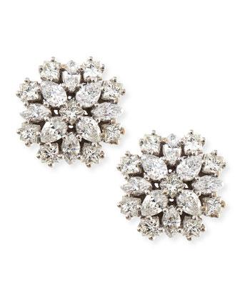 18k White Gold Diamond Cluster Stud Earrings, 12mm