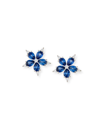 Small Stellanise Blue Sapphire & Diamond Stud Earrings