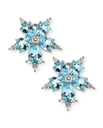 Large Stellanise Aquamarine & Diamond Stud Earrings