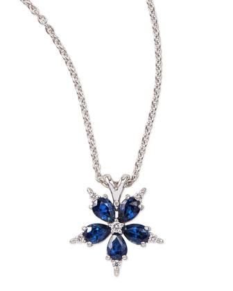 Small Stellanise Blue Sapphire & Diamond Pendant Necklace