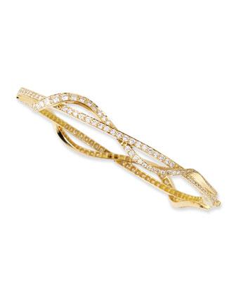 Small 18k White Gold & Diamond Nouveau Bangle Bracelet