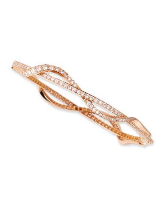 Small 18k Pink Gold & Diamond Nouveau Bangle Bracelet