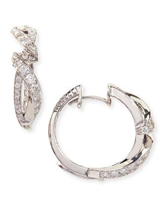 Simple 18k White Gold & Diamond Nouveau Hoop Earrings