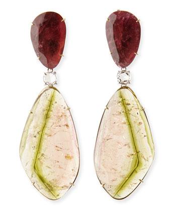 One-of-a-Kind 18k Watermelon Tourmaline Earrings with Diamonds