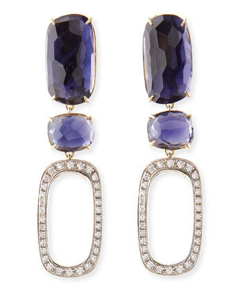 One-of-a-Kind 18k Murano Earrings with Iolite & Diamonds