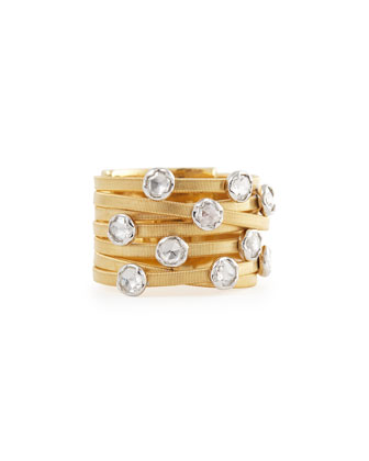 Goa Seven-Row 18k Yellow Gold Diamond Ring