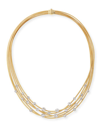 Goa 5-Strand 18k Yellow Gold Diamond Necklace