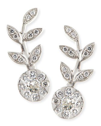 18k White Gold & Diamond Floral Climber Earrings