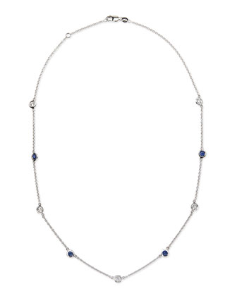 18k White Gold Sapphire & Diamond Necklace
