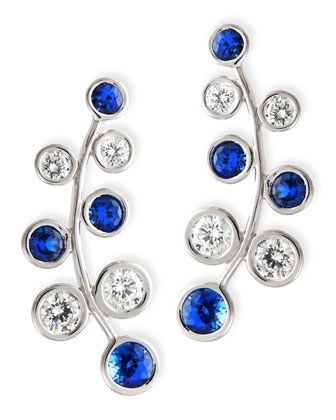 18k White Gold Vine Earrings with Diamonds & Sapphires