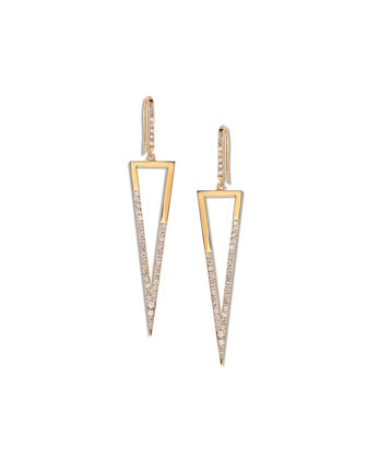 14k Fatale Triangle Earrings with Diamonds