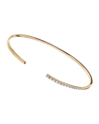 14k Yellow Gold Diamond Femme Echo Bangle, Size 7