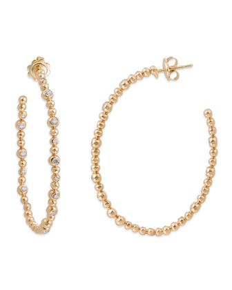 Molten 18k Gold Hoop Earrings with Diamonds
