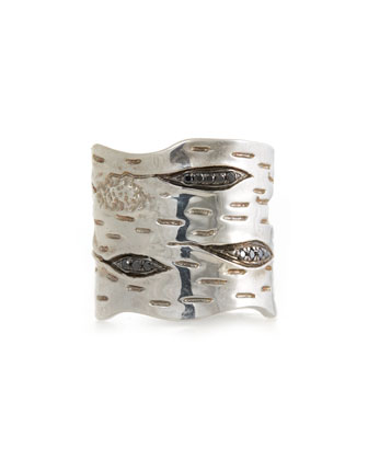 Silver Bark Band Ring with Black Diamonds
