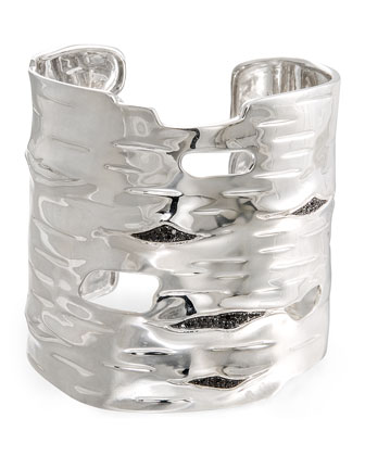 Silver Bark Cuff Bracelet with Black Diamonds