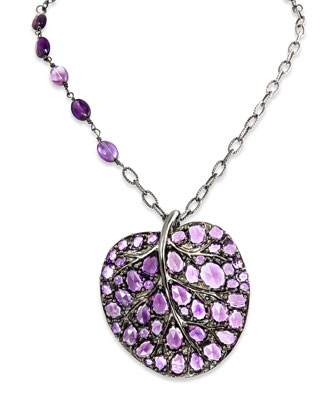 Large Leaf Pendant Necklace with Amethyst