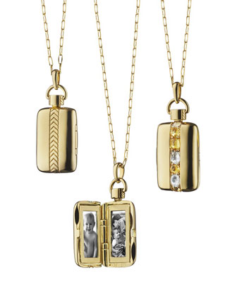 18k Gold Crystal & Yellow Sapphire Locket Necklace