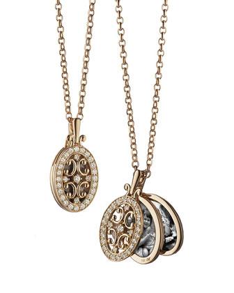 18k Rose Gold Diamond Gate Locket Necklace