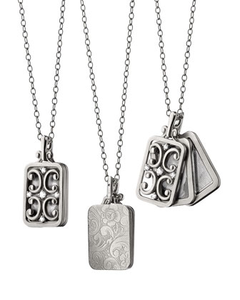 18k White Gold Rectangle Gate Locket Necklace