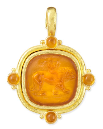 Cupid Riding Lion Intaglio Pendant, Amber