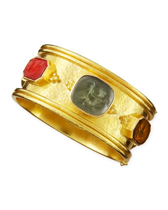 Cherub Venetian Glass Intaglio Bangle, Neutral