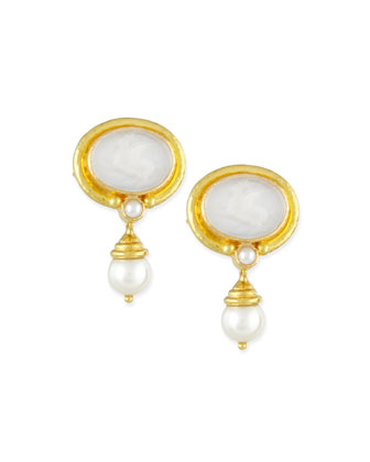 Pegasus Intaglio Clip/Post Earrings with Pearl Drop, White