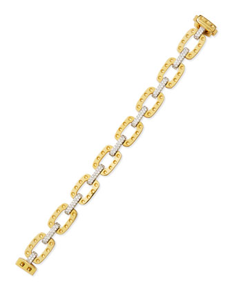 Pois Moi Square Link Bracelet with Diamonds, Yellow Gold