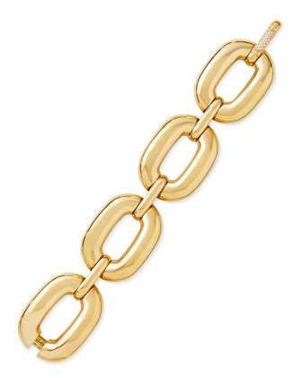 Bold Yellow Gold Large-Link Bracelet with Diamond Clasp