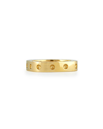 Men's 18k Yellow Gold Pois Moi Single Row Square Band Ring, Size ...