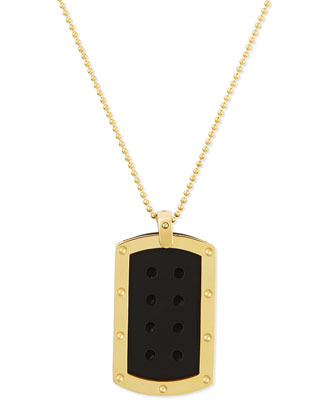 Men's Pois Moi 18k Yellow Gold Dogtag Necklace