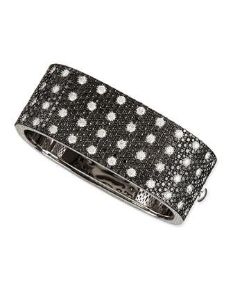 Pois Moi 18k White Gold & Black/White Diamond 4-Row Bangle