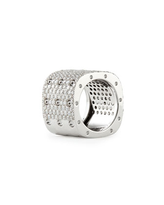 Pois Moi 18k White Gold & White Diamond 3-Row Ring