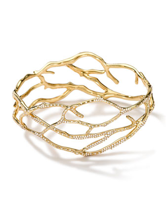 18k Gold Stardust Multi-Branch Bangle with Diamonds