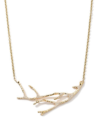 18K Gold Stardust Branch Necklace with Diamonds, 19