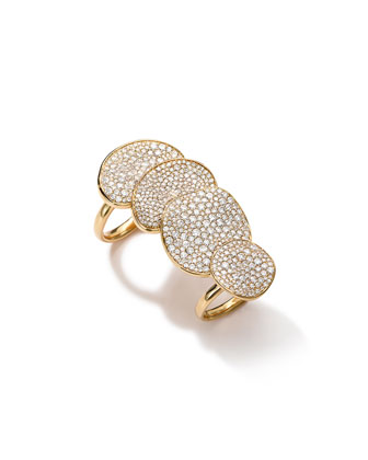 4-Part Wavy Disc Ring with Diamonds