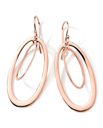 18K Rose Gold Smooth Double Open Oval Earrings