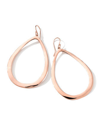 18K Rose Gold Smooth Large Open Teardrop Earrings