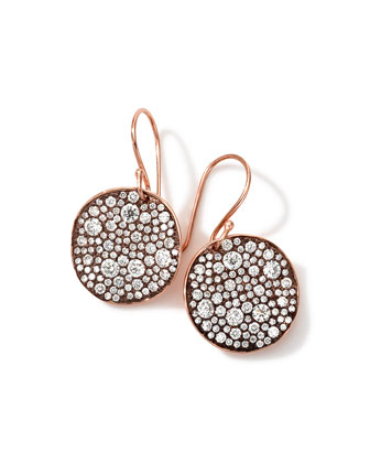 18k Rose Gold Stardust Flower Diamond Drop Earrings