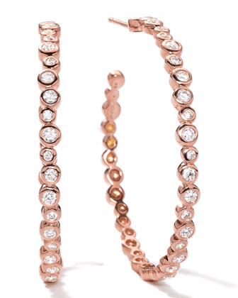 18k Rose Gold Starlet #3 Hoop Earrings in Diamonds