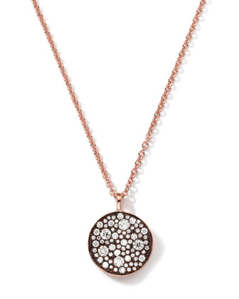 18k Rose Gold Stardust Flower Pendant Necklace with Diamonds (0.88 Carats)