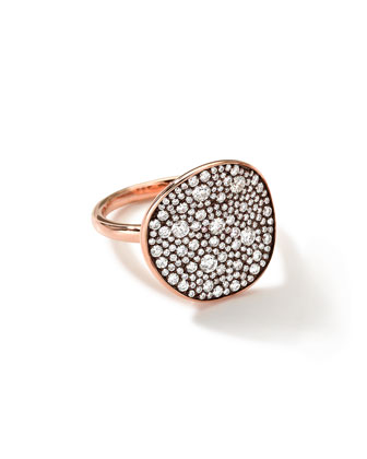 18k Rose Gold Stardust Disc Ring with Diamonds