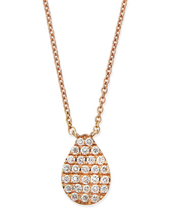 Rose Gold White Diamond Teardrop Necklace