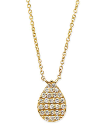 Yellow Gold White Diamond Teardrop Necklace