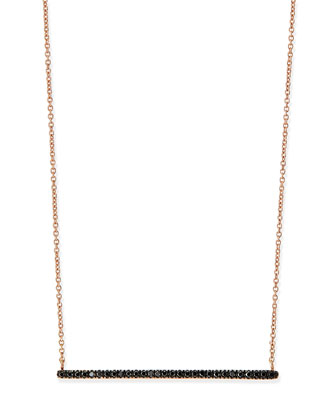 Rose Gold Black Diamond Bar Necklace