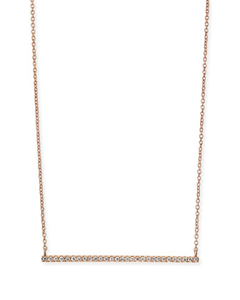 Rose Gold White Diamond Bar Necklace