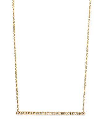 Yellow Gold White Diamond Bar Necklace