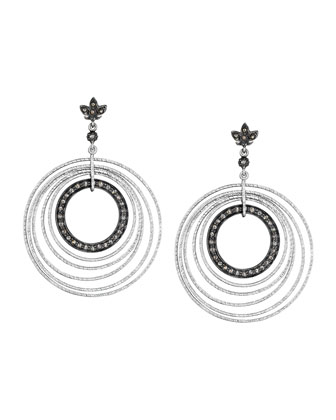 Spring Silver Circle Earrings with Diamonds