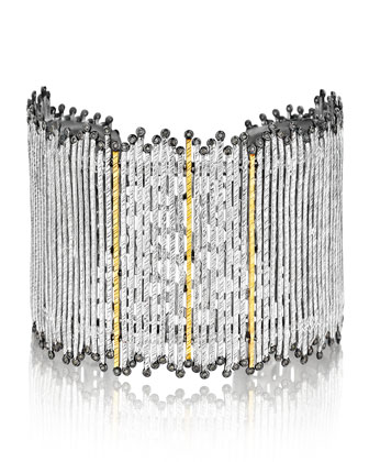 Spring Tricolor Cuff Bracelet with Diamonds