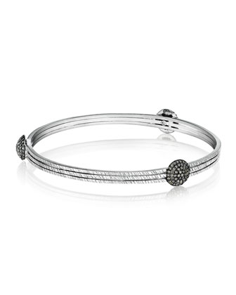 Spring Sterling Silver Bangle with Diamond Spheres